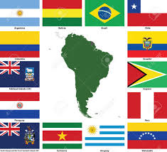 Latin American Flags Set Of Flags And Maps Of All South American Countries And