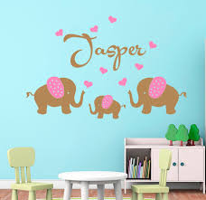 aliexpress com buy personalised custom name 3 elephants with aliexpress com buy personalised custom name 3 elephants with hearts wall stickes for kids room baby wall decals nursery wall art home decor d959 from