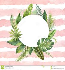 round wedding invitations watercolor round frame tropical leaves and branches on the