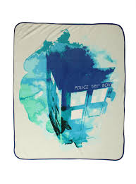 doctor who tardis watercolor throw blanket topic