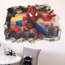 online get cheap spiderman bedroom wallpaper aliexpress com cartoon animated heroes spiderman broken wall stickers kids room nursery bedroom home decor 3d vinyl