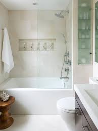 unusual small shower room with rectangle white bathtub and cream