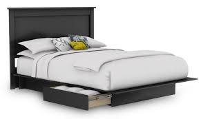 bedroom black wooden platform bed with tall head board and