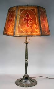 Arts And Crafts Desk Lamp Arts And Crafts Bronze And Mica Shade Table Lamp For Sale At 1stdibs