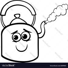kettle and steam coloring page royalty free vector image