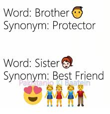 Meme Synonyms - word brother synonym protector word sister synonym best friend