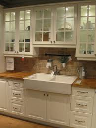 home design white kitchen cabinet with tile backsplash and ikea interesting stone backsplash with ikea farmhouse sink and wood countertop for traditional kitchen design