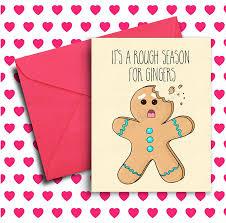 funny christmas card holiday card ginger card birthday card