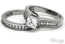 his and hers engagement rings sets his hers wedding rings stainless steel princess cut cz wedding