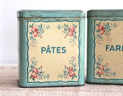 pair french floral kitchen tins bayside vintage pair french floral shabby chic country provincial kitchen canisters tin bayside vintage