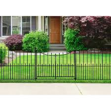 shop no dig powder coated black steel fence gate common 36 6 in