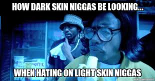 Light Skinned Niggas How Dark Skin Niggas Be Looking Hating How Dark Skin Niggas Be