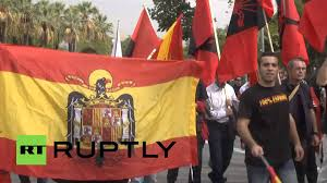 Barcelona Spain Flag Spain Far Right Nationalists Rally Against Catalan Independence