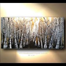 original painting rustic wall decor brown gold white birch