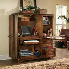 Computer Hutch Desk With Doors Hooker Brookhaven Computer Armoire Computer Armoires At