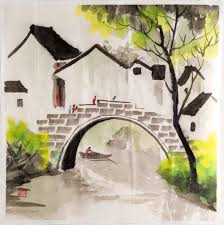 home decoration painting watercolor painting rural village home décor paintings