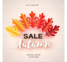 autumn sale paper cut leaves september flyer template space for