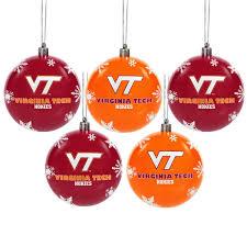 virginia tech hokies 5 pack shatterproof ornaments virginia