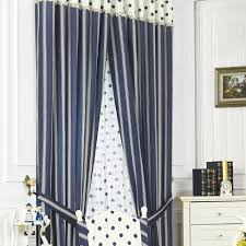 Blue Striped Curtains Elegant Striped Polka Dots Printing Lace Blue Cotton Curtains