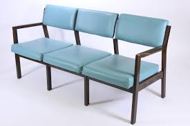 vtg 1980 eck adams teal vinyl triple seat bench chair office couch