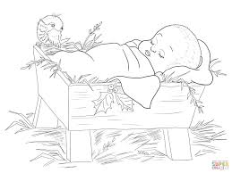manger coloring page ba jesus in a manger coloring page free
