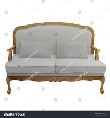 Vintage Curved Sofa by Antique Vintage Wooden Grey Velvet Upholstered Stock Vector