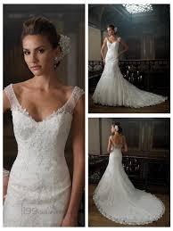 a line cap sleeves v neck wedding dresses with deep scoop back