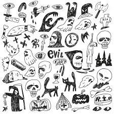 halloween evil monsters doodles set royalty free cliparts