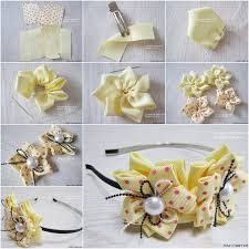flower hair band diy pretty ribbon flower hairband