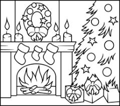 christmas fireplace coloring holidays