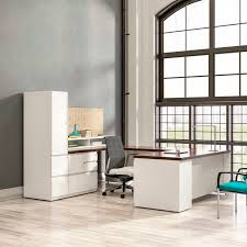 Kimball Reception Desk Executive Desk Wooden Laminate Contemporary Footprint