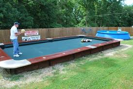 you won u0027t believe this life size backyard pool bowling table