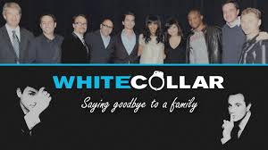 white collar cast saying goodbye to a family