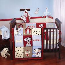 Mickey And Minnie Crib Bedding Baby Nursery Decor Dalmation Theme Blue White Black Dots