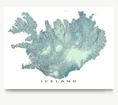 World Map Artwork by Iceland Map Iceland Art Reykjavik Travel Map Print