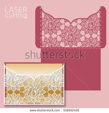 pocket invitation envelopes laser cut wedding invitation card template stock vector 496360609