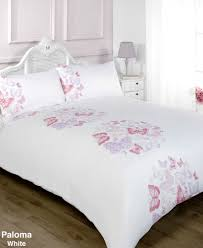 girls double bedding paloma white pink and lilac butterfly duvet cover bedding set
