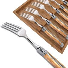 set of 6 laguiole forks with wood handle and stainless steel bolsters