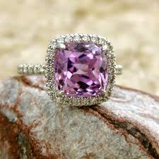 amethyst engagement ring custom by vintage inspired lilac lavender kunzite and diamond engagement