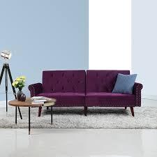amazon com modern tufted velvet splitback recliner sleeper futon