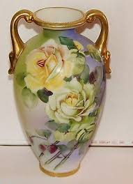 Nippon Hand Painted Vase Nippon Old Noritake Hand Painted Yellow Rose Gold Trim Art Pottery