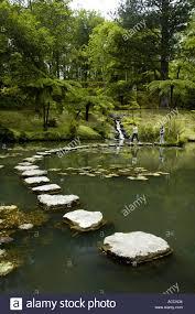 stepping stones across ornamental lake terra nostra gardens furnas