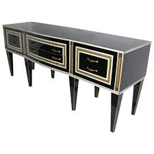 1950s italian art deco style black glass sideboard with white and