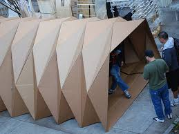 Cardboard Origami - cardboard origami architecture student designs housing shelter
