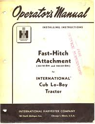 fast hitch attachment manual cub lo boy 10 20 55