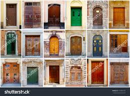 photo collage 18 colorful front doors stock photo 410487154