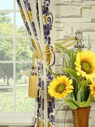 Sunflower Yellow Curtains by Hebe Floral Damask Rod Pocket Velvet Curtains