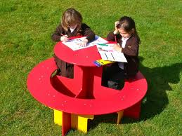 round plastic picnic table children s round recycled plastic picnic table rainbow range education
