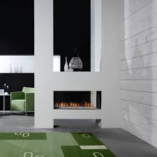 gas fireplace contemporary closed hearth 3 sided aspect
