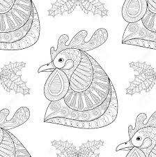 cartoon rooster with mistletoe seamless pattern hand drawn sketch